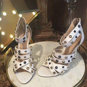 BEBE Regina White LEATHER Studded 7 Shoes